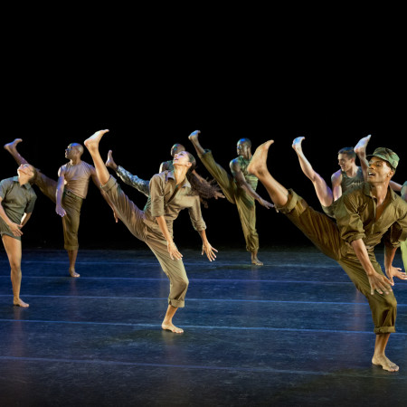 Alvin Ailey American Dance Theater in Bill T. Jones' D-Man in the Waters (Part I) Photo by Paul Kolnick