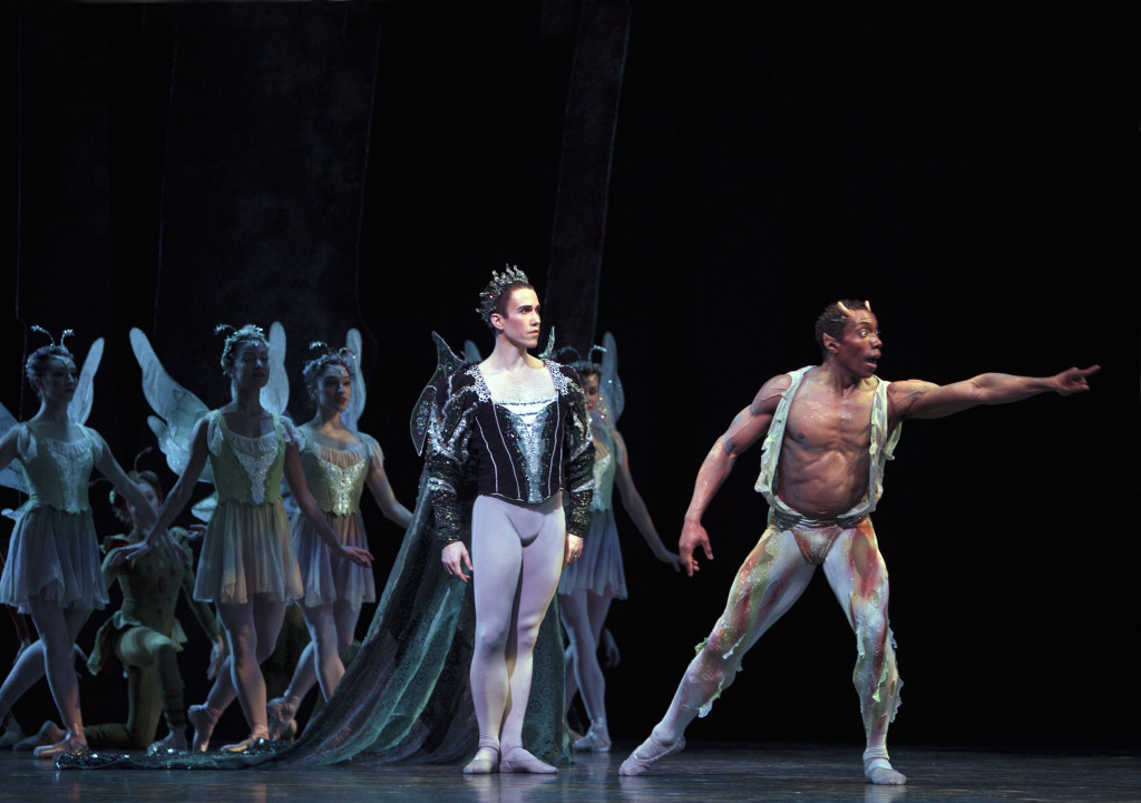 Benjamin Griffiths as Oberon and Kiyon Gaines as Puck in A Midsummer Night's Dream Photo © Angela Sterling