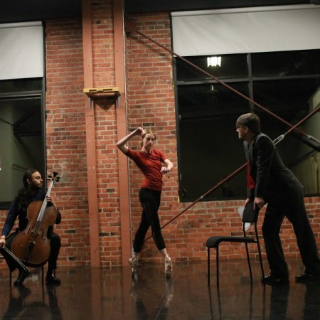 Joshua Dent, Christin Call, and Daniel Christensen in rehearsal for This is Not A Table for Three Photo by Drew Santoro