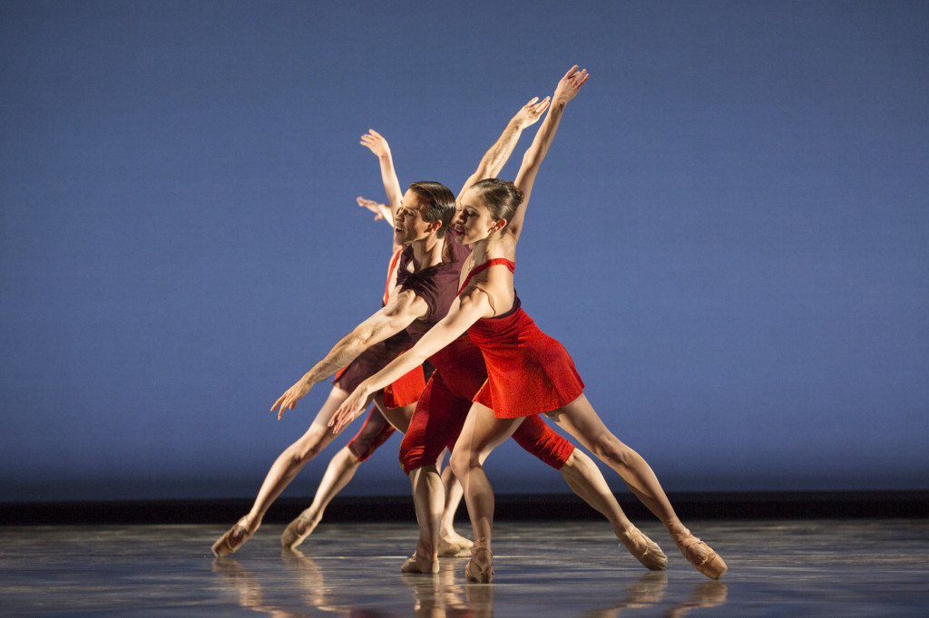 Pacific Northwest Ballet soloists Benjamin Griffiths and Leta Biasucci with company dancers in Paul Gibson's Rush, Photo by Angela Sterling