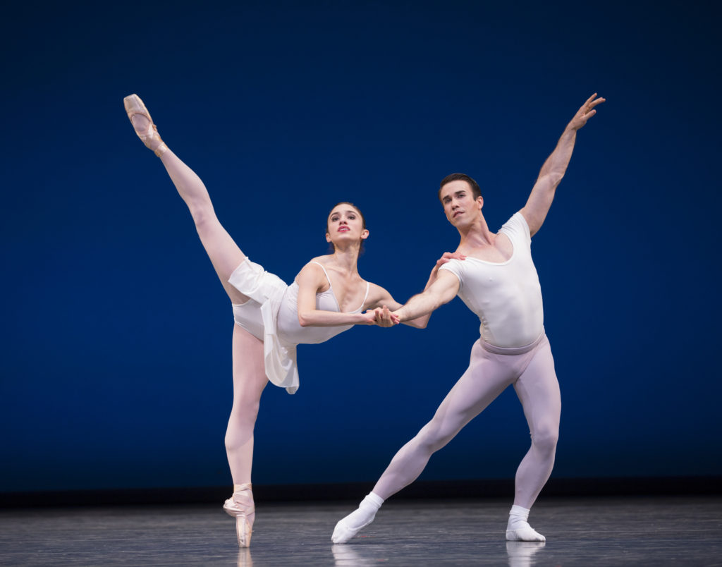Pacific Northwest Ballet soloists Leta Biasucci and Benjamin Griffiths in Square Dance, choreographed by George Balanchine © The George Balanchine Trust, Photo © Angela Sterling.