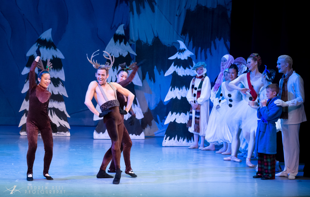 Thomas Phelan as The Cheeky Reindeer and Vanessa Hsu & Katie Zhao as The Behaving Reindeer. Photo by Andrew Ness.