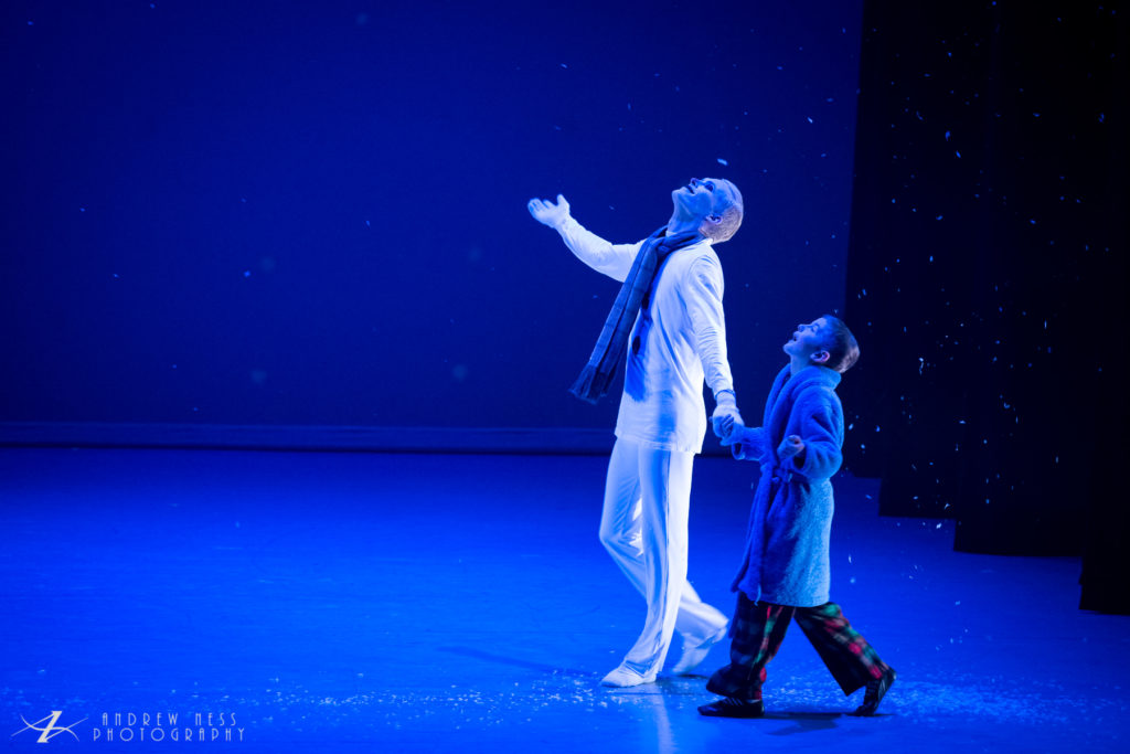 Caleb Rumsey as the Little Boy and Kyle Mathew Johnson as the Snowman. Photo by Andrew Ness.