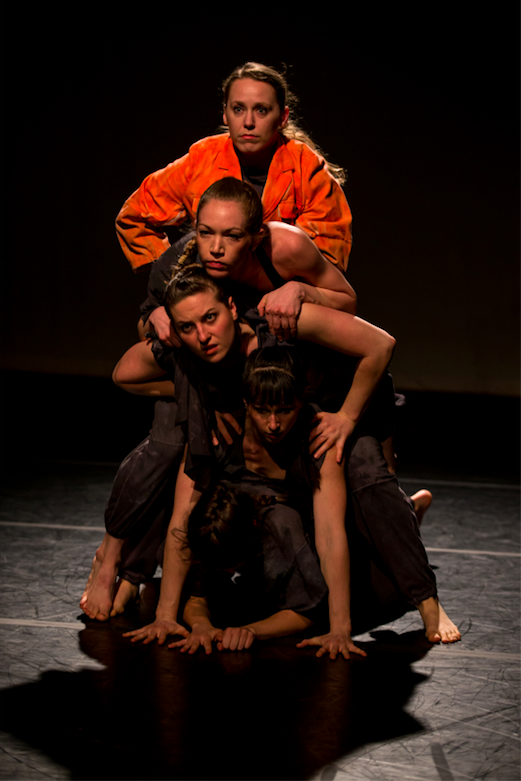 Rebecca Barney, Hannah Reitsma, Philippa Myler, Kimberly Holloway, Olivia Fauver in Kimberly Holloway's Yessir. Photo by Jazzy Photo.
