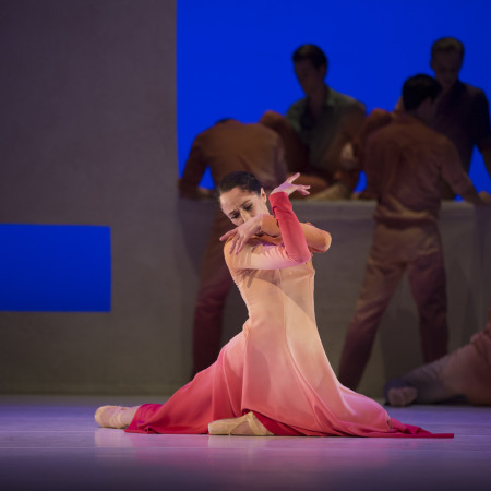 Pacific Northwest Ballet soloist Sarah Ricard Orza with company dancers in Jessica Lang's Her Door to the Sky. Photo © Angela Sterling.